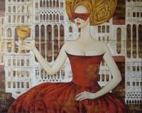 Дама со старинным кубком100х80 холст масло, 2014