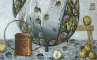Натюрморт с лейкой и яблоками