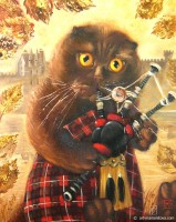 Портрет кота в национальном шотландском костюме