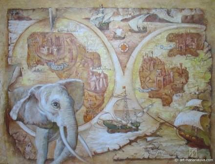 Старинная карта, роспись