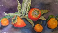 Натюрморт с хурмой и мандаринами