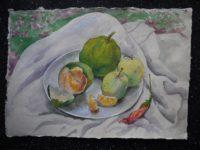 Натюрморт с зелёными мандаринами и яблоками
