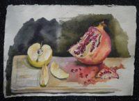 Натюрморт с гранатом и яблоком