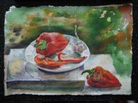 Натюрморт с красным перцем и чесноком